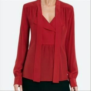 bcbg red tie blouse
